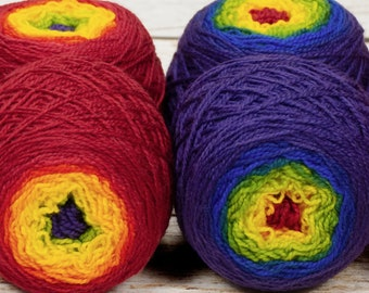 "Sock Twins "" Rainbow Connection "" -Lleap Handpainted Gradient Sock Yarn Set"