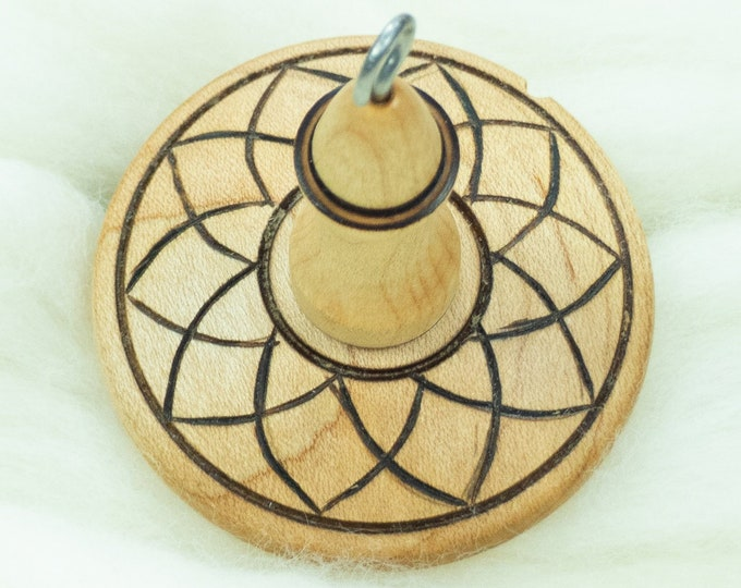 Lluna Hand-Turned Maple / Pyrograph Drop Spindle-Top Whorl 23 Grams