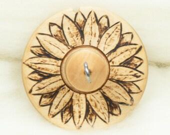 Sunflower Lluna Hand-Turned Maple Wood / Pyrograph Drop Spindle Medium Light -Top Whorl 18 Grams
