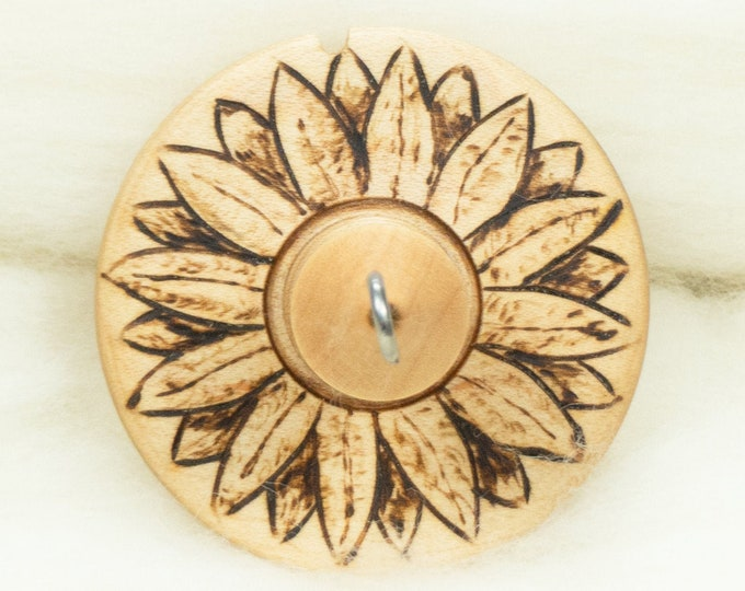 Sunflower Lluna Hand-Turned Maple / Pyrograph Drop Spindle-Top Whorl 18 Grams
