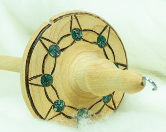 Lleto Hand-Turned Maple / Turquoise / Chrysocolla Drop Spindle - Top Whorl 36 Grams