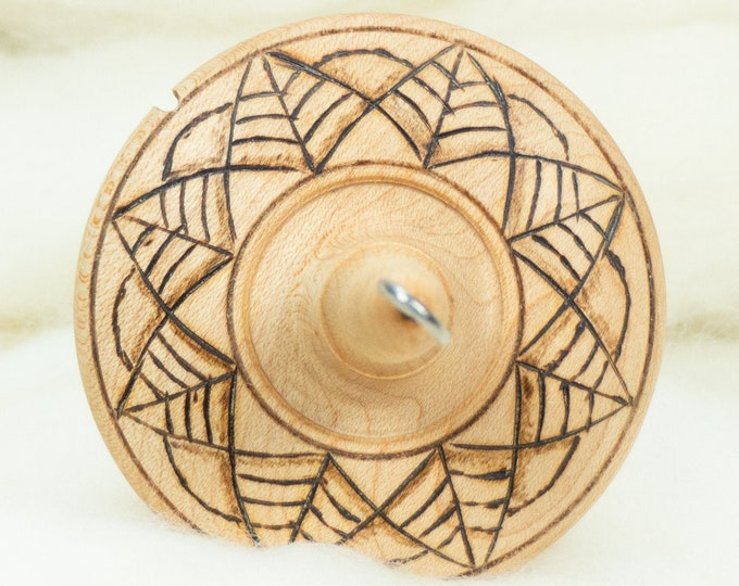Lleto Hand-Turned Maple Pyrograph Drop Spindle / Top Whorl 35 Grams