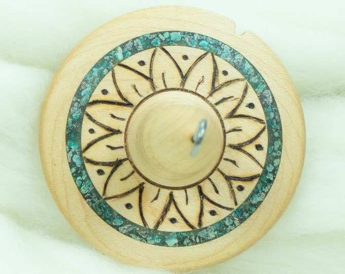 Lleto Hand-Turned Maple / Turquoise / Chrysocolla Drop Spindle - Top Whorl 37 Grams