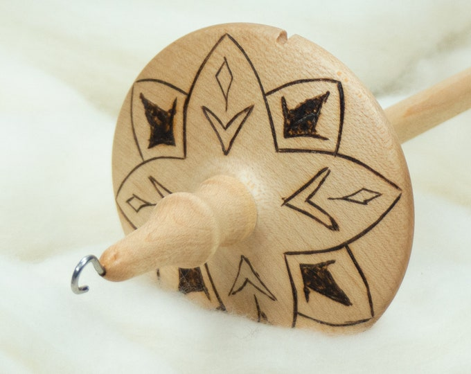Gentian Flower - Llampetia Hand-Turned Maple Wood Drop Spindle Heavyweight - Top Whorl 46 Grams