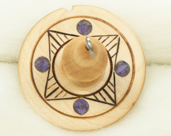 Lluna Hand-Turned Maple Wood / Charoite / Pyrograph Drop Spindle Medium Light -Top Whorl 20 Grams