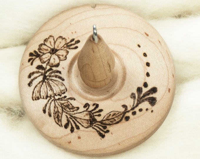 Floral Spray - Llampetia Hand-Turned Maple Wood Drop Spindle Heavyweight - Top Whorl 52 Grams
