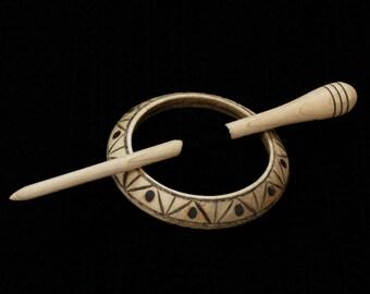 Geometric Llarissa Hand Turned Maple Pyrographed Wood Shawl Pin Set