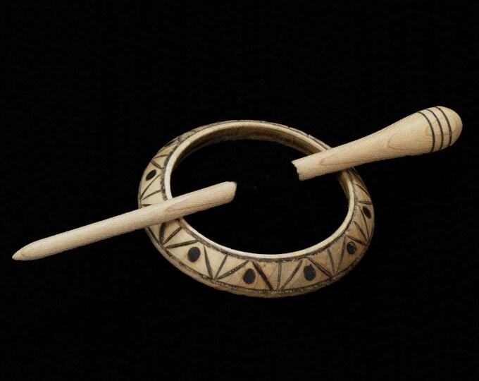 Geometric Llarissa Hand Turned Maple Pyrographed Shawl Pin Set