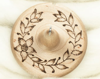 Laurel Vine - Llampetia Hand-Turned Maple Wood Drop Spindle Heavyweight - Top Whorl 42 Grams