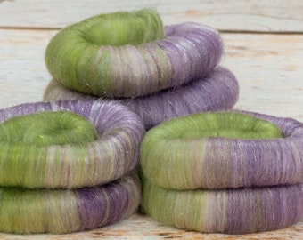 Fruit Of The Vine -Lluxurious Rolags-1oz. SW Merino / Bamboo / Nylon / Firestar