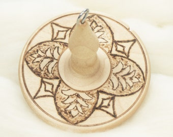 Pineapple Flower - Llampetia Hand-Turned Maple Wood Drop Spindle Heavyweight - Top Whorl 47 Grams