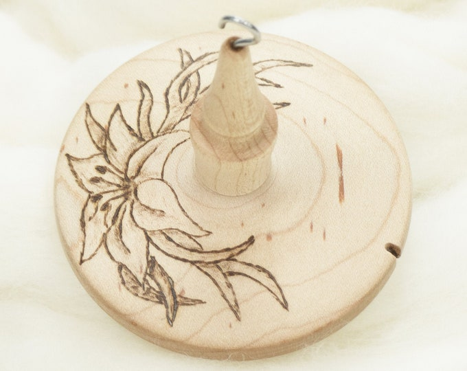 Lily - Llampetia Hand-Turned Maple Wood Drop Spindle Heavyweight - Top Whorl 42 Grams