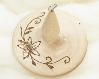 Starflower - Llampetia Hand-Turned Maple Wood Drop Spindle Heavyweight - Top Whorl 43 Grams
