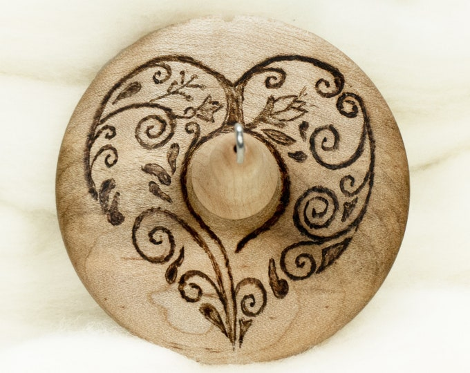 Scrollwork Heart - Llampetia Hand-Turned Maple Wood Drop Spindle Heavyweight - Top Whorl 45 Grams