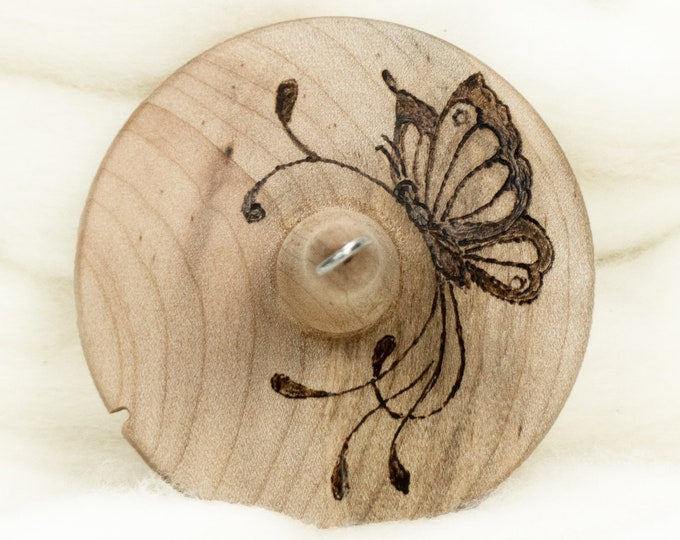 Poised Butterfly - Llampetia Hand-Turned Maple Wood Drop Spindle Heavyweight - Top Whorl 46 Grams
