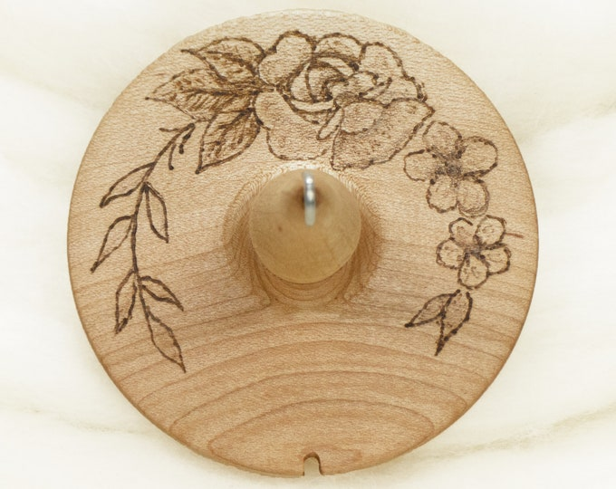 Rose Garden - Llampetia Hand-Turned Maple Wood Drop Spindle Heavyweight - Top Whorl 43 Grams