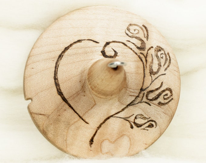 Rose Heart Stencil - Llampetia Hand-Turned Maple Wood Drop Spindle Heavyweight - Top Whorl 45 Grams
