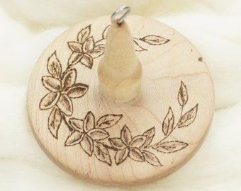 Plumeria - Llampetia Hand-Turned Maple Wood Drop Spindle Heavyweight - Top Whorl 44 Grams