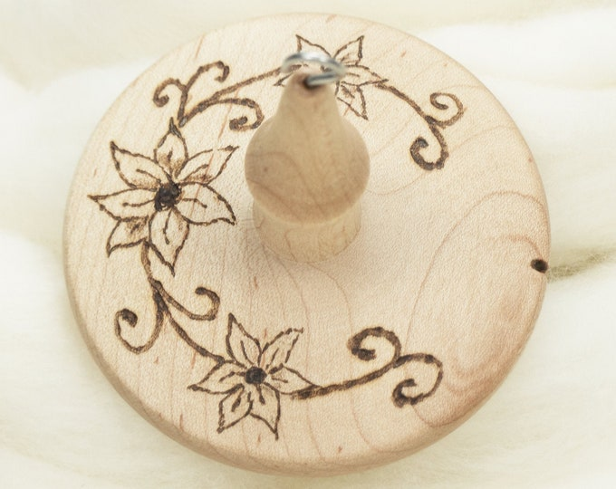 Clematis Vine - Llampetia Hand-Turned Maple Wood Drop Spindle Heavyweight - Top Whorl 43 Grams