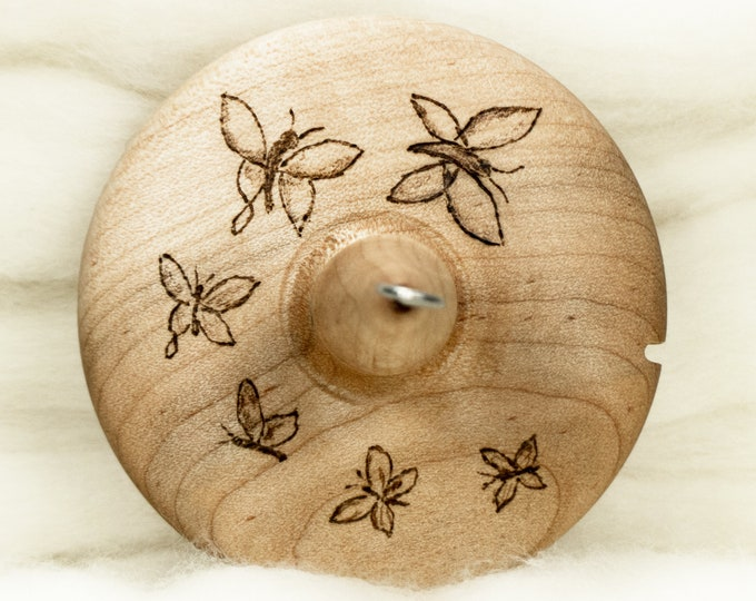 A Flutter Of Butterflies - Llampetia Hand-Turned Maple Wood Drop Spindle Heavyweight - Top Whorl 47 Grams