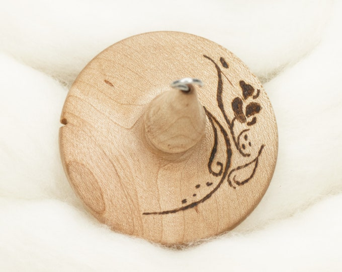 Rose Stencil - Lleto Hand-Turned Maple Wood Pyrograph Drop Spindle Medium / Top Whorl 29 Grams
