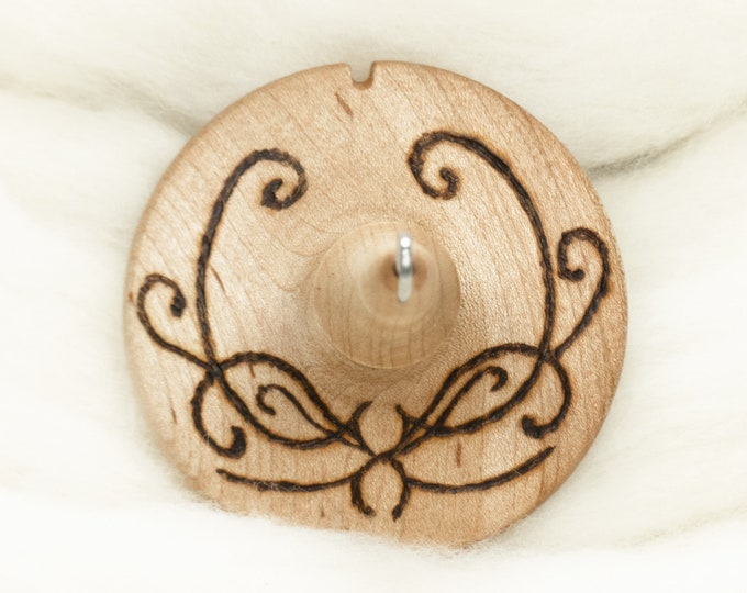 Scrollwork - Lleto Hand-Turned Maple Wood Pyrograph Drop Spindle Medium / Top Whorl 31 Grams