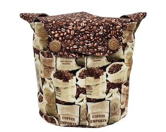 Coffee Bean - Medium Llayover Knitting Tote / Knitting, Spinning, Crochet Project Bag