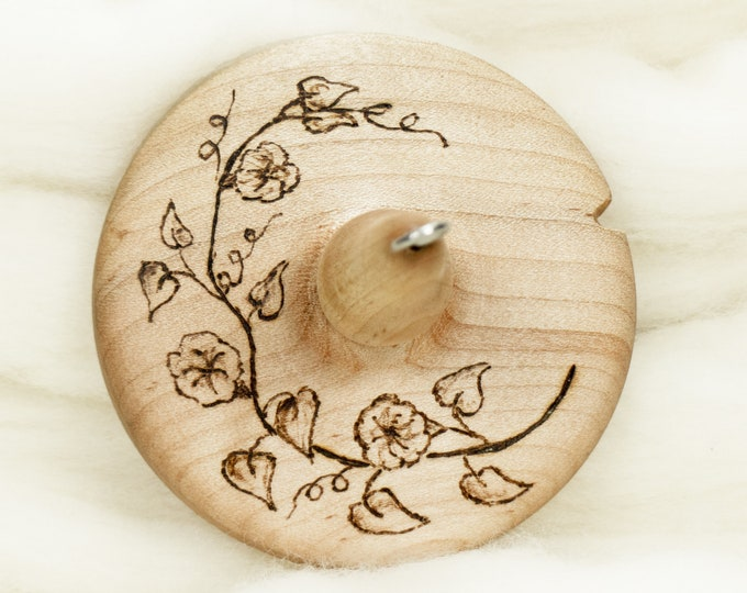 Morning Glory - Llampetia Hand-Turned Maple Wood Drop Spindle Heavyweight - Top Whorl 47 Grams