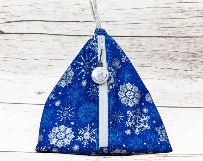 Notion - Bold Blue Snowflake - Llexical Notions Pouch - Knitting, Crochet, Spinning Accessory Bag
