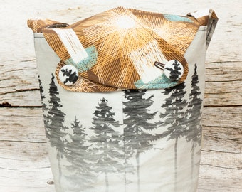 A Light In The Night -Small Llayover Knitting Tote/ Knitting, Spinning, Crochet Bag