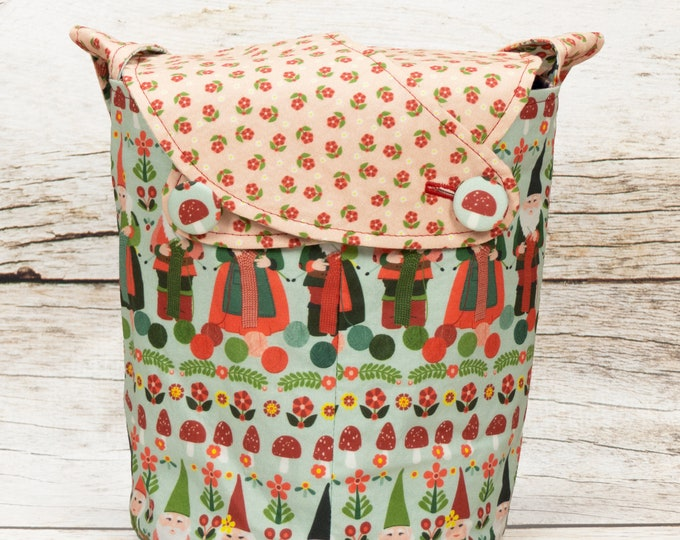 Knitting Gnomes -Small Llayover Knitting Tote/ Knitting, Spinning, Crochet Bag