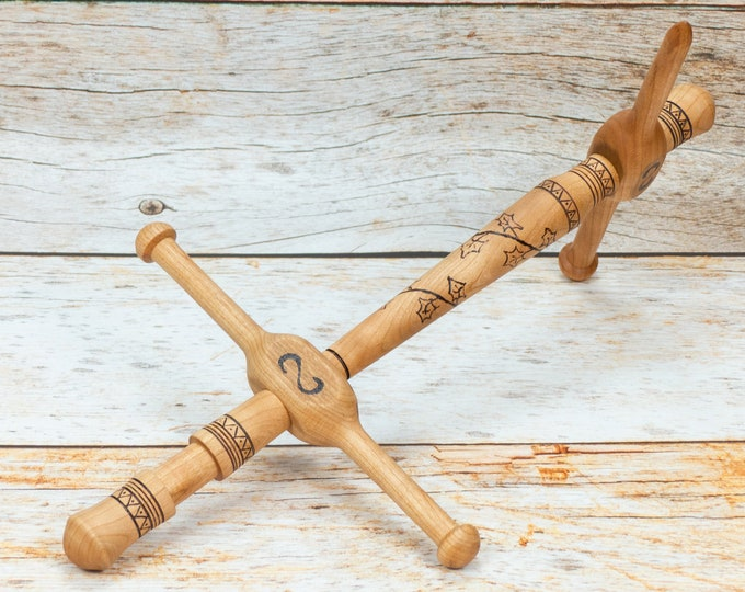 Climbing Ivy - 1 Yard Llabrys Niddy Nøsty 3-in-1 Spinner's Tool Hand-Turned Pyrographed  Cherry