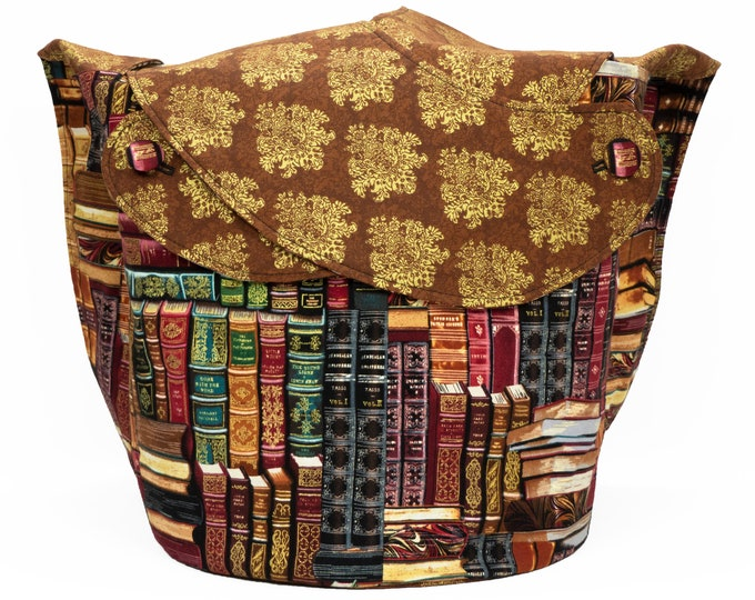 Gilded Bookshelf Damask -Large Llayover Tote/ Knitting, Spinning, Crochet Project Bag