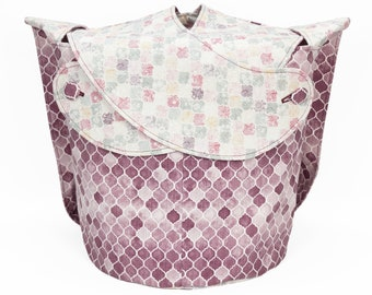 Rose Garden Quatrefoil -Large Llayover Tote/ Knitting, Spinning, Crochet Project Bag