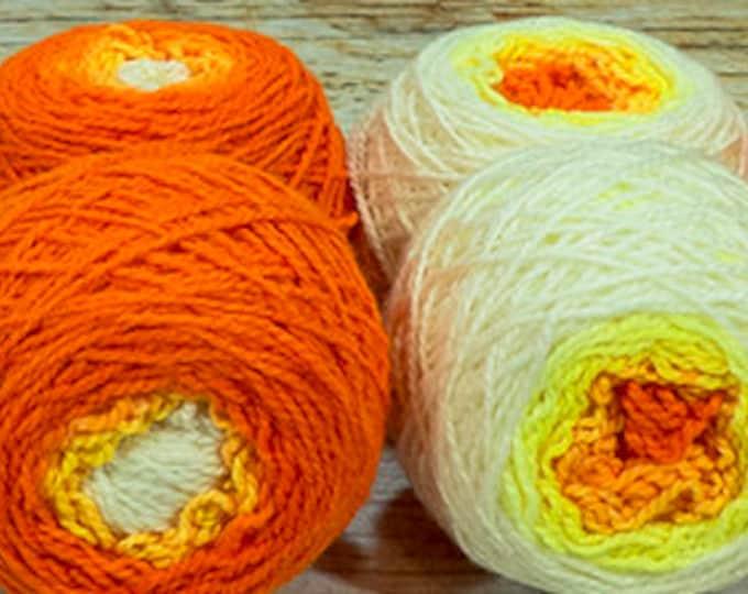 "Shorty Sock Twins "" Phoenix Hatchling "" - Lleap Handpainted Semisolid Gradient Sock Yarn Set"