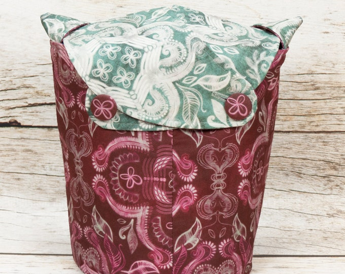 Damask -Small Llayover Knitting Tote/ Knitting, Spinning, Crochet Bag