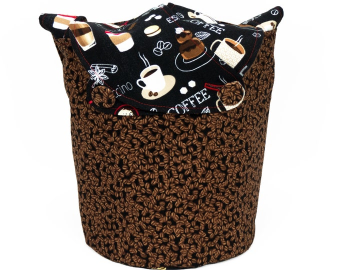 Coffee Please -Small Llayover Knitting Tote/ Knitting, Spinning, Crochet Bag