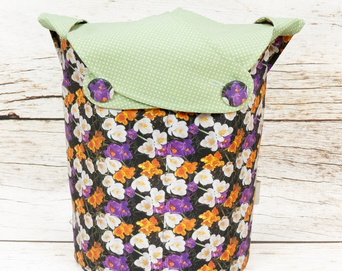 Crocus Polka Dot -Small Llayover Knitting Tote/ Knitting, Spinning, Crochet Bag
