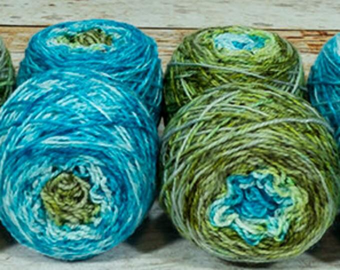 """Fraternal Shorty Sock Twins """" Mermaiden's Tale """" - Llark Handpainted Gradient Speckle Sock Yarn Set"""