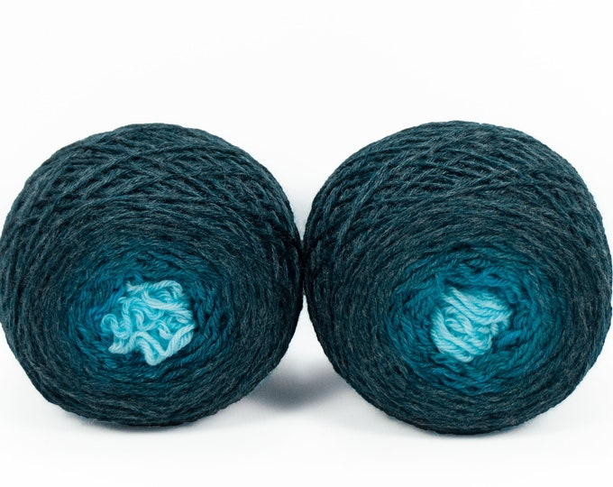 "Sock Twins "" Undine "" - Lleaf Handpainted Gradient Sock Yarn Set"