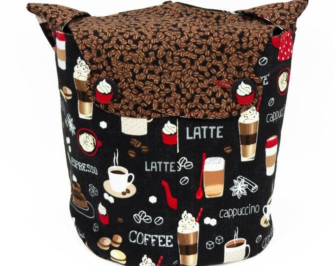 Coffee Please - Medium Llayover Knitting Tote / Knitting, Spinning, Crochet Project Bag
