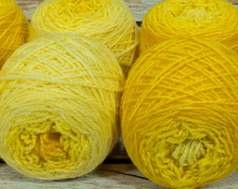 "Shorty Sock Twins "" Badger Yellow "" - Lleap Handpainted Semisolid Gradient Sock Yarn Set"
