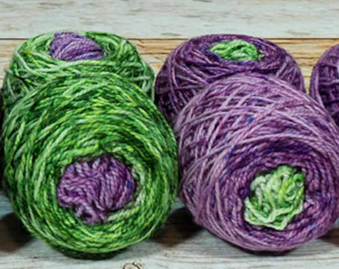 "Fraternal Shorty Sock Twins "" Fruit Of The Vine "" - Llark Handpainted Gradient Speckle Sock Yarn Set"