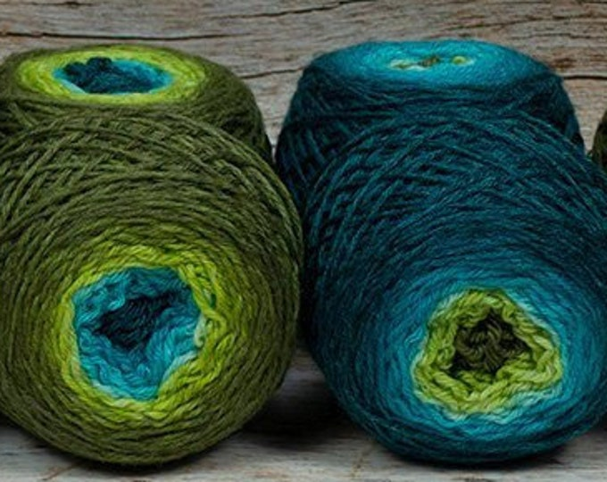 "Sock Twins "" Mermaiden's Tale "" - Lleaf Handpainted Gradient Sock Yarn Set"
