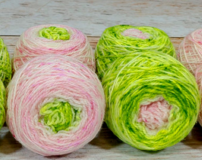 "Fraternal Shorty Sock Twins "" Frog Princess "" - Llark Handpainted Gradient Speckle Sock Yarn Set"