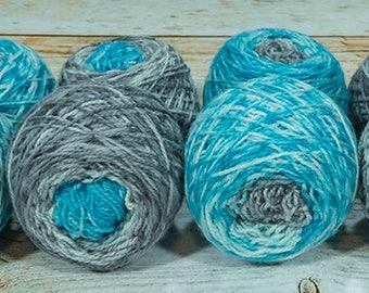 "Fraternal Shorty Sock Twins "" Arctic "" - Llark Handpainted Gradient Speckle Sock Yarn Set"