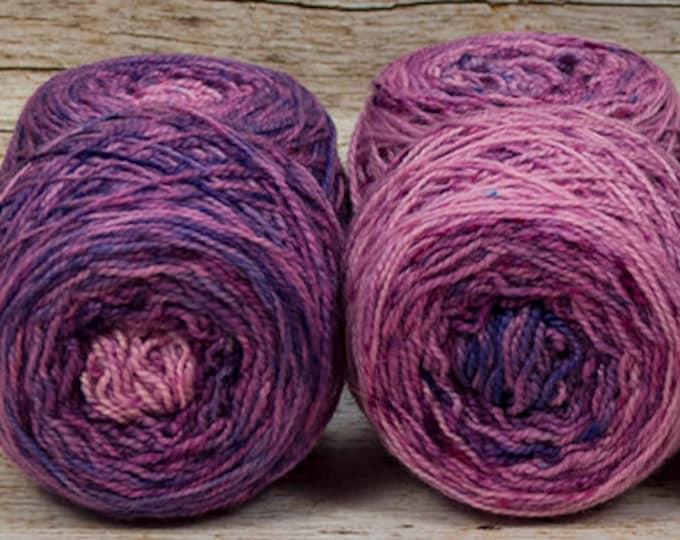 "Fraternal Sock Twins "" Evil Stepmother "" - Llark Handpainted Gradient Speckle Sock Yarn Set"