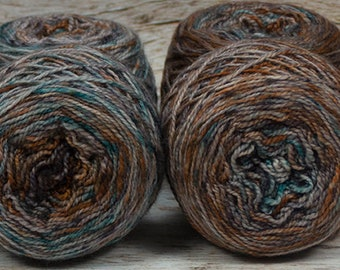 "Fraternal Sock Twins "" Verdigris "" - Llark Handpainted Gradient Speckle Sock Yarn Set"