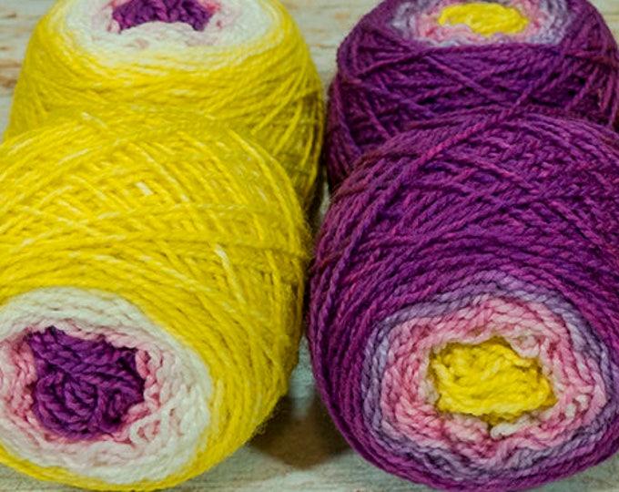 "Shorty Sock Twins "" Princess Zelda "" - Lleap Handpainted Semisolid Gradient Sock Yarn Set"