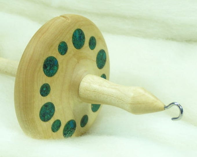 Lleto Hand-Turned Maple / Turquoise / Chrysocolla Drop Spindle - Top Whorl 40 Grams